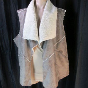 Oso Faux Suede Shearling Plus Vest 3X Fold Over